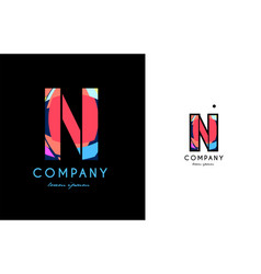 n blue red letter alphabet logo icon design vector image