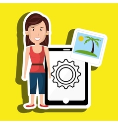 persons with smartphone isolated icon design vector image