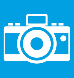 Photocamera icon white vector