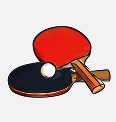 Rackets ball table tennis vector
