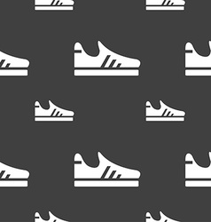 Running shoe icon sign seamless pattern on a gray vector