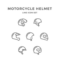 set line icons of motorcycle helmet vector image vector image