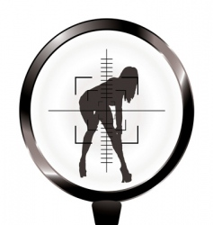 sexy girl and rifle target vector image