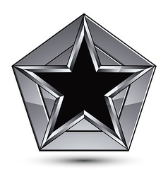 Silvery blazon with pentagonal black star can be vector