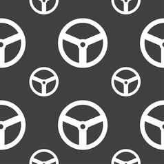 Steering wheel icon sign seamless pattern on a vector