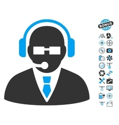 Support manager icon with copter tools bonus vector