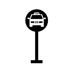 taxi sign silhouette vector image