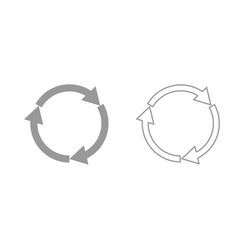 three circle arrows grey set icon vector image