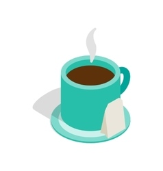 Turquoise cup of tea icon isometric 3d style vector