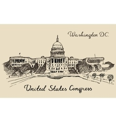 United States Capital Hill Capitol Washington DC vector image