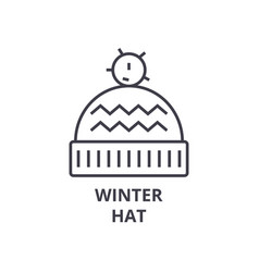 winter hat line icon outline sign linear symbol vector image vector image