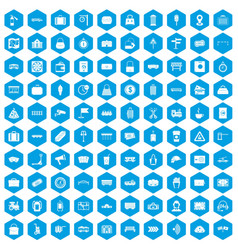 100 railway icons set blue vector