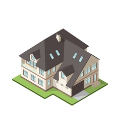 Isometric large private cottage or house for real vector