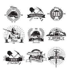 Mining industry vintage emblems vector