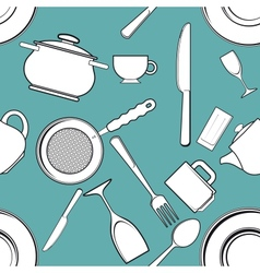 Seamless background with antique kitchen utensils vector