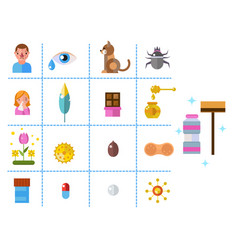 Allergy symbols disease healthcare tablets viruses vector
