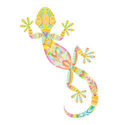 Drawing lizard gecko with ethnic patterns vector