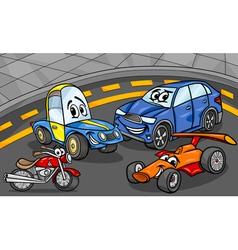 cars vehicles group cartoon vector image