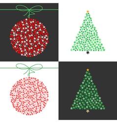 Red christmas ball and green christmas tree set vector