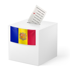 Ballot box with voting paper andorra vector