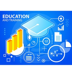 Bright graduate cap and bar chart on blue ba vector
