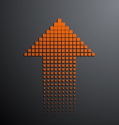 Orange arrow on the gray background vector