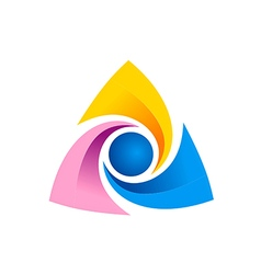 Triangle circle technology logo vector