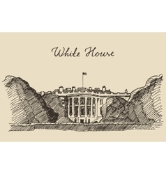 White house in washington dc hand drawn sketch vector