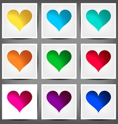 Set colored banners in the shape of a heart vector