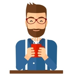 Man sitting with cup of coffee vector