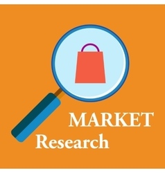 Market research with loop and shopping bag vector
