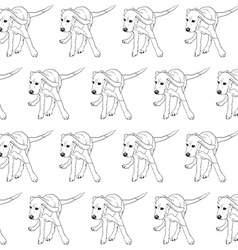 Seamless pattern of running beagle on white vector