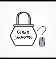 Online shopping concept with shopping bag and mous vector