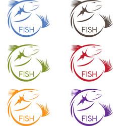 Abstract design stickers set of the fish vector