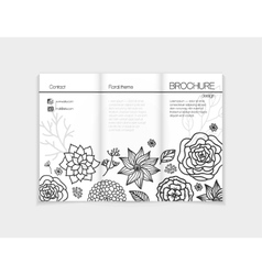 Black and white floral brochure template design vector image