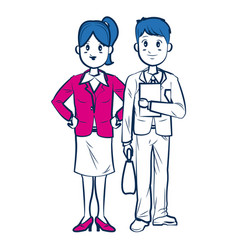 business man and woman standing partners cartoon vector image vector image