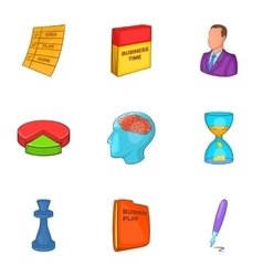 Business plan icons set cartoon style vector image