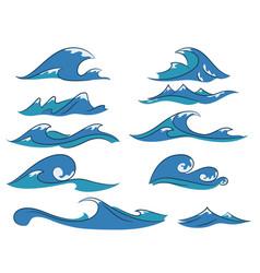 cartoon waves set vector image