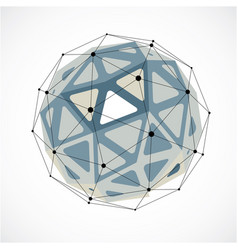 Dimensional wireframe low poly object grayscale vector
