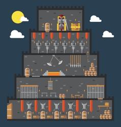 Flat design of castle dungeon internal vector