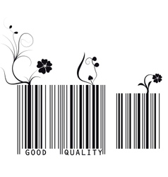 floral barcode vector image vector image