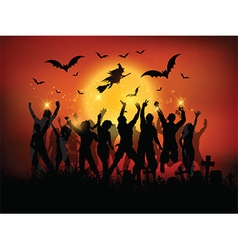 halloween party landscape vector image vector image