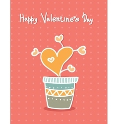 Hand drawn hearts in pot cartoon style greeting vector