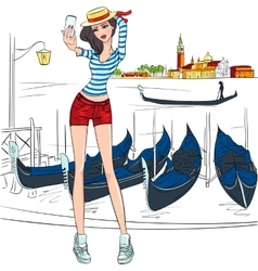 lovely fashion girl makes selfie in Venice vector image vector image