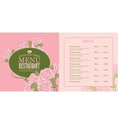 menu with roses vector image vector image
