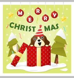 Merry christmas greeting card with dog inside gift vector