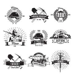 Mining Industry Vintage Emblems vector image