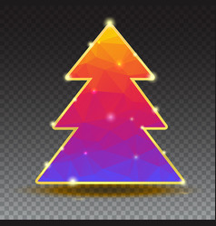 New year tree from color triangles with gold trim vector