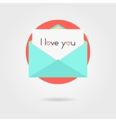 open letter and i love you inscription on red vector image vector image