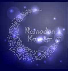 ornate crescent moon for the ramadan greeting card vector image